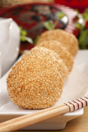 balls deep: Sesame Balls Stock Photo
