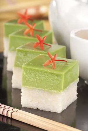Seri Muka Kuih also known as the Pandan Custard Cake