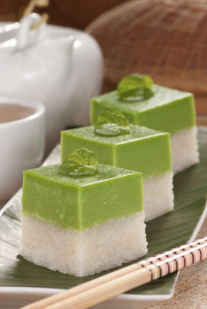 Seri Muka Kuih also known as the Pandan Custard Cake photo