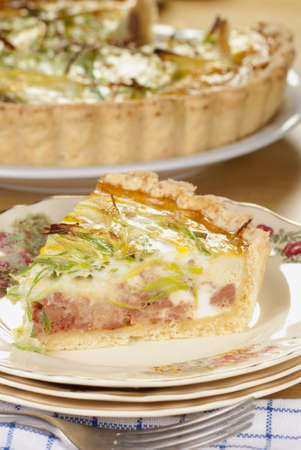 minced pie: Minced Beef & Leek Quiche Stock Photo
