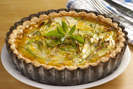leeks: Minced Beef & Leek Quiche Stock Photo