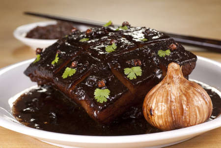 Braised Pork Belly with Dark Soy Sauce photo