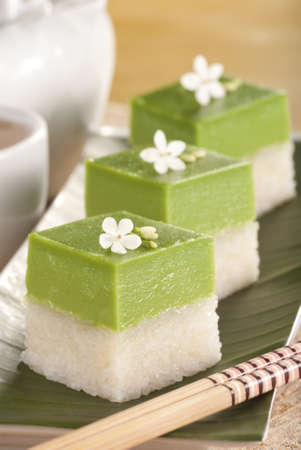 known: Seri Muka Kuih also known as the Pandan Custard Cake
