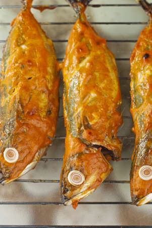 Baked Indian Mackerels with Spicy Coconut Sauce Stock Photo - 14288307
