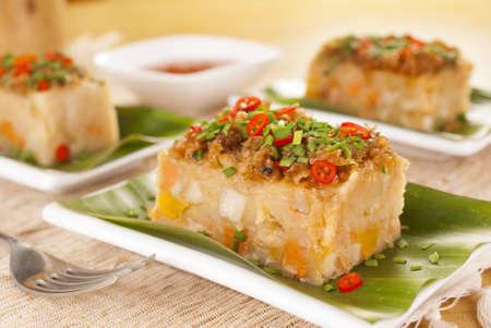 Savory Yam and Sweet Potato Cake