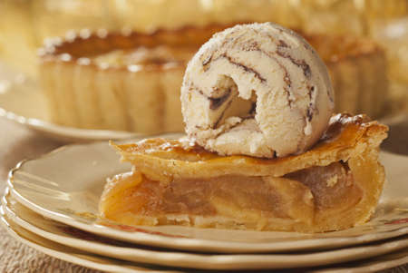 Apple Pie with a Curl of Vanilla Chocolate Ice Cream photo