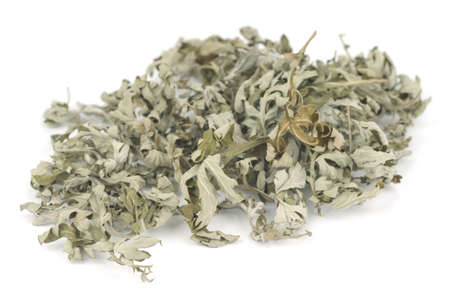 felon: Dried Mugwort or Mug Wort Leaves; Non sharpened file Stock Photo