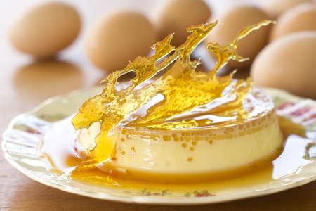 flan: Creme or Cream Caramel Non sharpen file Stock Photo