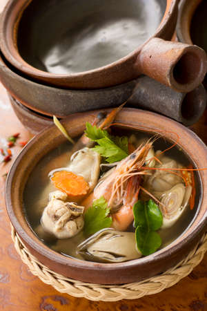 sharpen: Tom Yam Ruam Pak or Clear Tom Yam Soup with Chicken and Prawns. Non sharpen