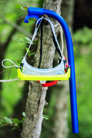 Water mask and breathing pipe hanging on the tree on green forest natural background. Diving accessories as a sign of summer sports, recreation activities and seaside leisure.
