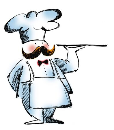 cartoon illustration of a head-cook with a tray at white background illustration