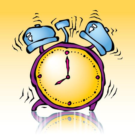 cartoon illustration of ringing alarmclock at white background 向量圖像