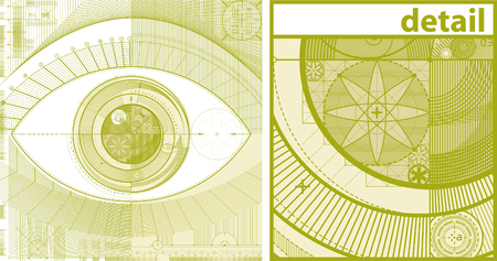 vector illustration of technical draft background as a eye