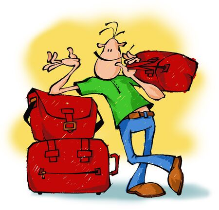 Cartoon drawing of a smiling guy with bags. photo