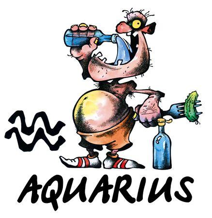 cartoon illustration of Aquarius on white background