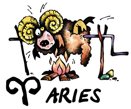 cartoon illustration of Aries on white background