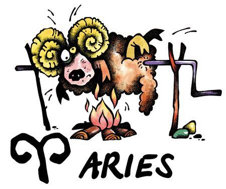 aries: ilustraci�n de dibujos animados de Aries en el fondo blanco