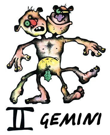 illustration of gemini (zodiac) on white background