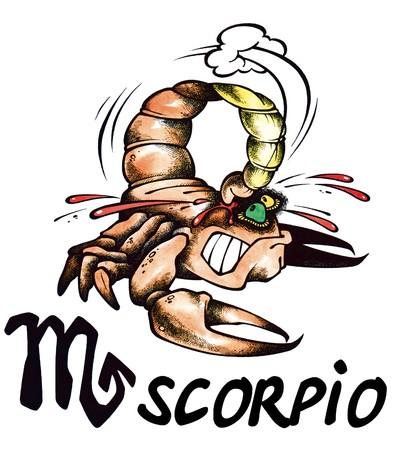 cartoon illustration of Scorpio on white background 스톡 콘텐츠