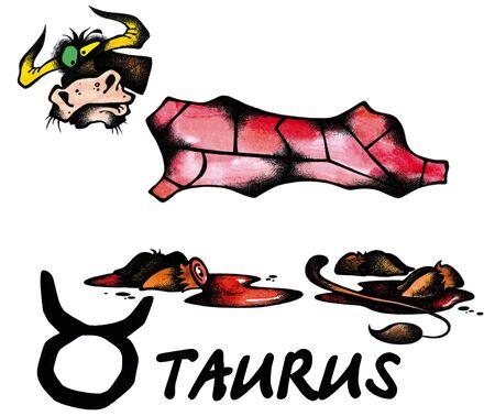 Virgo: ilustraci�n de dibujos animados de Tauro en el fondo blanco