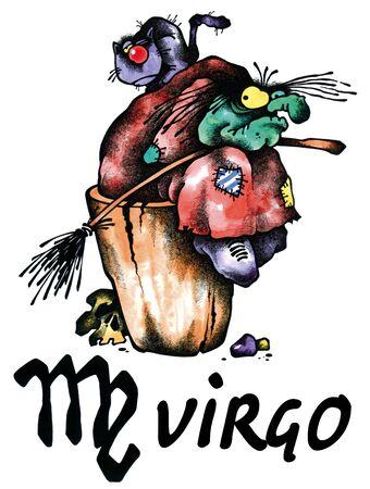 virgo: ilustraci�n de dibujos animados de Virgo en el fondo blanco