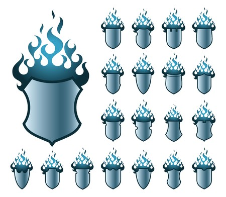 A set of vector shields with flame in blue colour.  photo