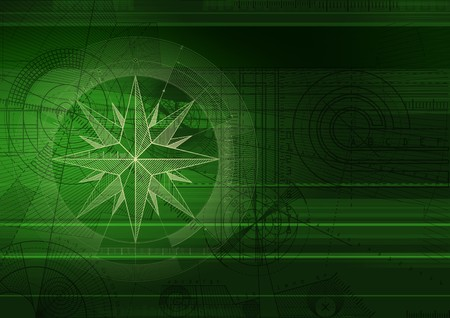Computer generated abstract background with wind-rose and technical draft. Stock Photo
