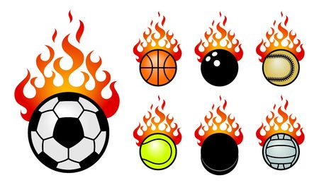 A set of vector icons with a sport fireballs.  photo