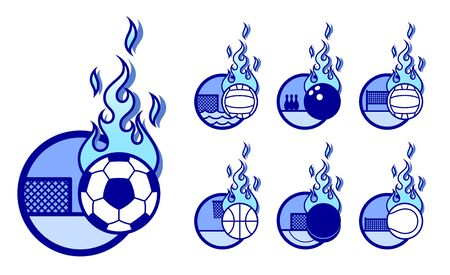 A set of vector sport theme icons with fireballs.
