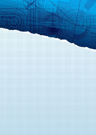 Vector illustration of a ripped sguarepaper with technical background, blue pattern.
