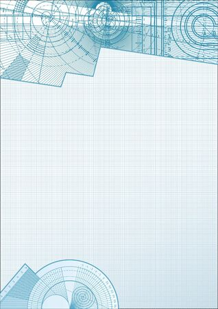 millimetre: Vector illustration of a technical background with square paper element.  Stock Photo