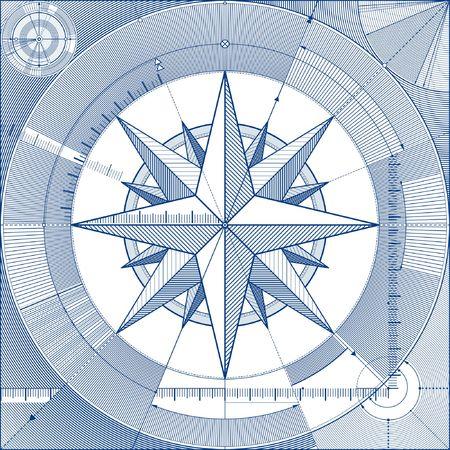 compas de dibujo: Ilustraci�n vectorial de un viento-rosa en un proyecto de estilo.