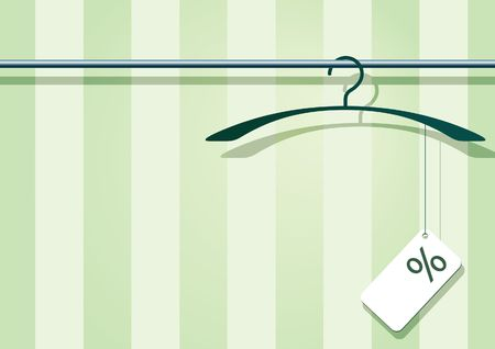 clothes rack: illustration af a coat-hanger with a label with percent-sign. Stock Photo