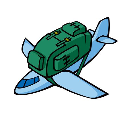 aviations: illustration af airplane with rucksack.