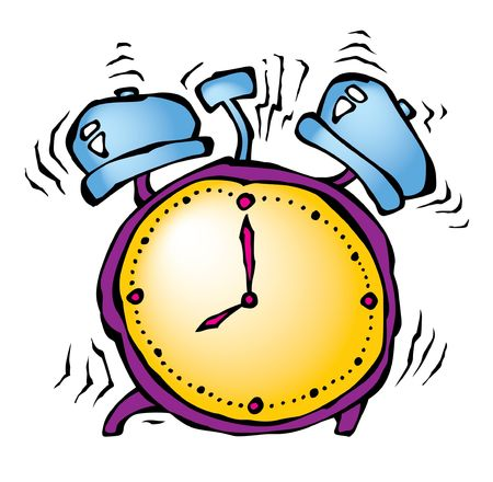 alarmclock: cartoon illustration of ringing alarmclock at white background Stock Photo