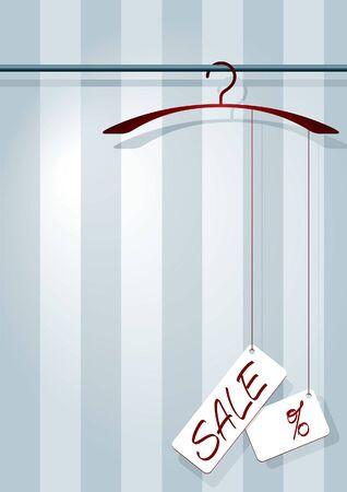 illustration af a coat-hanger with a sale-label and percent-sign.