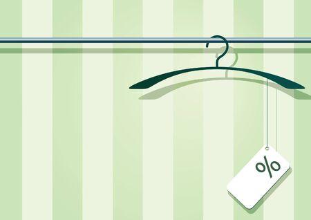 illustration af a coat-hanger with a label with percent-sign. 版權商用圖片