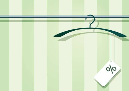 clothing rack: illustration af a coat-hanger with a label with percent-sign. Stock Photo