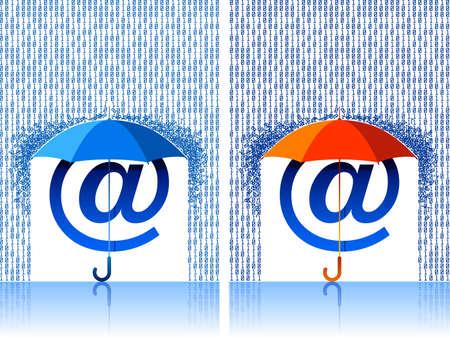 protecting: illustration af a e-mail sign under umbrella protection.