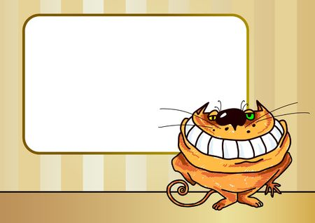 purr: Cartoon illustration of a smiling cat with blank textframe. Stock Photo