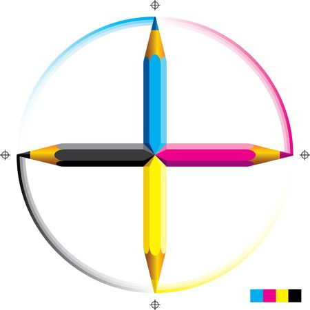 Vector illustration of four cmyk colored pencils as a cross.