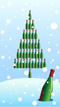 Vector illustration of a winter landscape envelope with a bottle fir.