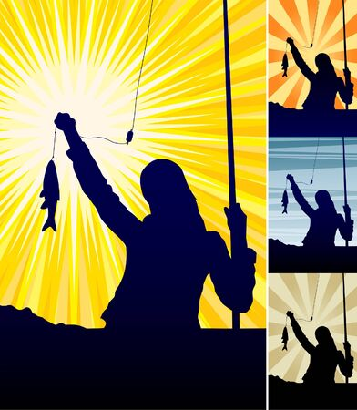 illustration of a girls silhouette holding catching fish. illustration