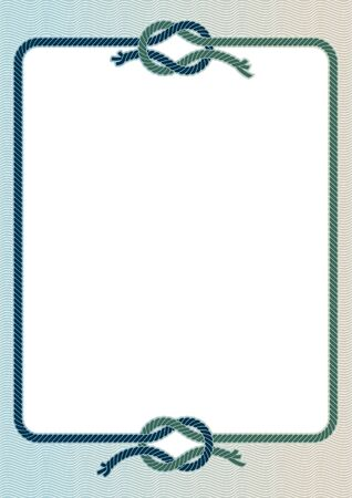 nautical background: illustration of a frame with with a sea knots.