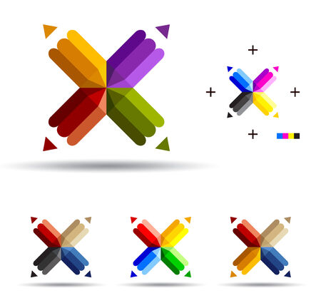 Vector illustration of color pencils with four ends. 向量圖像
