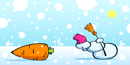 Cartoon illustration of a snowman and carrot. Vector