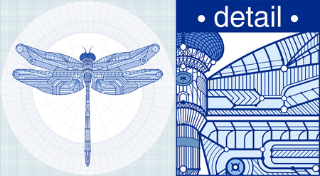 a dragonfly in a draft style. Stock Vector - 8603426