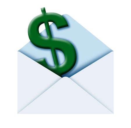illustration of a poste envelope with $ sign inside illustration