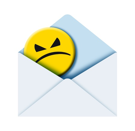 illustration of a poste envelope with angry face sign inside