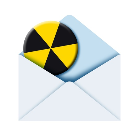 illustration of a poste envelope with radioactive sign inside Stock Illustration - 8904758